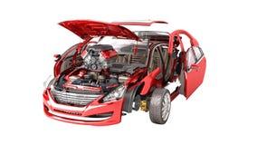 Detalhes do carro vermelho em um fundo que branco nenhuma sombra 3D não renda ilustração royalty free