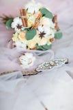 Detalhes do casamento da noiva Imagens de Stock