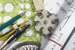Detalhes do desenho de engenharia Imagens de Stock