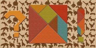 Detalhes do enigma do tangram e do jogo do enigma fotografia de stock royalty free