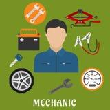 Detalhes do homem e do carro do mecânico Fotografia de Stock Royalty Free