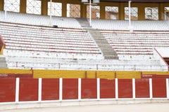 Detalhes do interior da praça de touros de Guadalajara, Espanha Foto de Stock