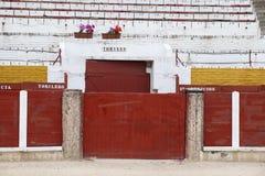 Detalhes do interior da praça de touros de Guadalajara, Espanha fotografia de stock royalty free