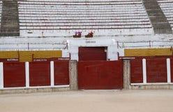 Detalhes do interior da praça de touros de Guadalajara, Espanha imagem de stock