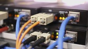 Detalhes do interruptor de rede carregado e de trabalho com o conversor dos meios da fibra vídeos de arquivo