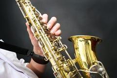 Detalhes do saxofone Imagem de Stock