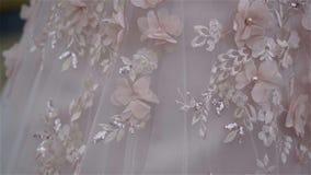 Detalhes do vestido de casamento - movimento lento video estoque