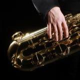 Detalhes dos instrumentos de música jazz do saxofone Fotos de Stock Royalty Free