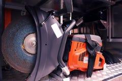 Detalhes e estrutura do carro de bombeiros imagem de stock royalty free