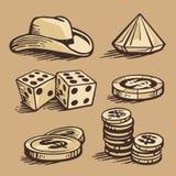 Detalhes e stetson do casino ilustração stock