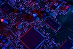 Detalhes eletrônicos do mainboard Foto de Stock Royalty Free