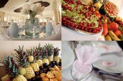 Detalhes no salão de baile do casamento pronto para o partido, multicam, grade 2x2, separação da tela em quatro porções Foto de Stock