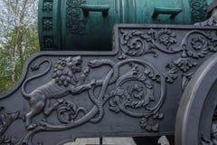 Detalhes no transporte de arma do canhão do czar imagens de stock royalty free