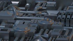 Detalhes, peças, tubos e fios eletrônicos 3D rendem a textura ilustração stock