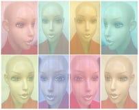 Detalhes plásticos comerciais do facial do modelo da roupa ilustração do vetor