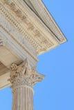 Detalhes romanos do templo em Nimes, Provence, France Imagem de Stock