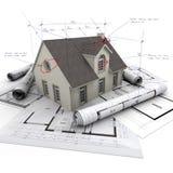 Detalhes técnicos do projeto da casa ilustração stock