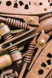 Detalhes velhos do metal de maquinaria industrial sob a corrosão fotos de stock royalty free