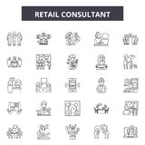 Detaliczne konsultant linii ikony, znaki, wektoru set, kontur ilustracji pojęcie ilustracja wektor
