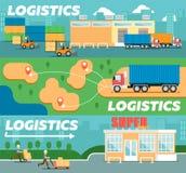 Detaliczne logistyki i dystrybucja plakat ilustracja wektor
