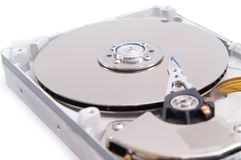 Detalied open hard drive. Open hard drive isolated on white background Royalty Free Stock Photo