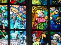 Detalj av Alfons Mucha Stained Glass Prague royaltyfria bilder