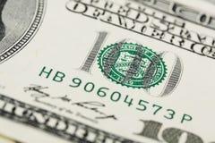 Detalj av amerikanen hundra dollarräkning Royaltyfri Bild
