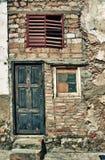 Detalj av att smula fasaden i den gamla havannacigarren, Kuba Fotografering för Bildbyråer
