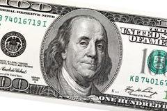 Detalj av Ben Franklin på räkningen för dollar 100 Arkivfoto