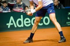 Detalj av ben, händer och racket Johnson Steve som spelar i matchen mot SERBIEN, Davis Cup 2018, Nis Arkivfoton