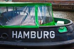 Detalj av bogserbåten på pir i Hamburg Royaltyfri Bild