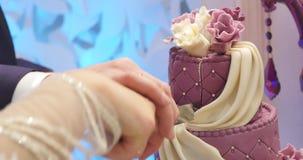 Detalj av bröllopstårtaklipp av nygifta personer bröllop för 8 pie lager videofilmer