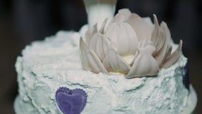 Detalj av bröllopstårtaklipp vid nygift personbröllopstårtan arkivfilmer
