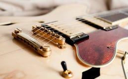 Detalj av bron för elektrisk gitarr Arkivbild