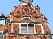 Detalj av byggnad för 17th århundrade i Ghent, Belgien royaltyfri foto