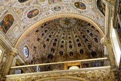 Detalj av Cealingen på kyrkan av Santo Domingo, Oaxaca royaltyfria foton