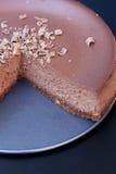Detalj av chokladkakan på plattan Royaltyfria Bilder