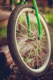 Detalj av cykelgummihjulhjulet fotografering för bildbyråer