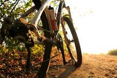 Detalj av cyklistmanfot som rider mountainbiket på utomhus- Arkivbilder