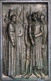 Detalj av dörren av domkyrkan av St James i Sibenik, Kroatien royaltyfria bilder