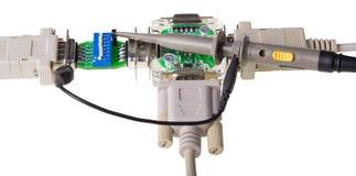 Detalj av datalinjen signalmätning och tillfångatagande fotografering för bildbyråer