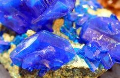Detalj av de blåa mineralerna Arkivfoto