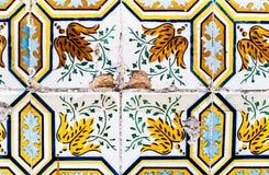 Detalj av de traditionella tegelplattaazulejosna från fasad av gammalt hous Royaltyfria Foton