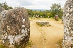 Detalj av den Almendres cromelechen, i Ã-‰ vora, Portugal, det viktigast i Iberiska halvön Royaltyfria Foton