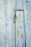 Detalj av den blåa trädörren Royaltyfria Foton