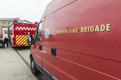 Detalj av den brittiska brandkårskåpbilen Royaltyfria Bilder