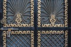 Detalj av den dekorativa dörrporten, Indien Arkivfoton