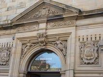 Detalj av den fina arkitekturen i Lancaster England i mitten av staden arkivfoton