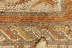 Detalj av den forntida roman mosaiken royaltyfria foton
