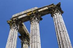 Detalj av den forntida templet av Evora Royaltyfria Foton